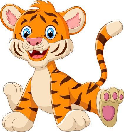 tigre caricatura: historieta del tigre de beb� lindo Foto de archivo
