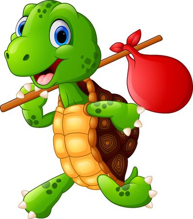 Turtle traveling cartoon Stock Photo