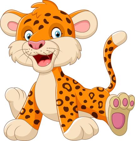 baby smile: Cute baby leopard cartoon