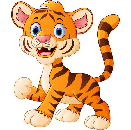 tigre bebe: El bebé lindo que agita historieta del tigre