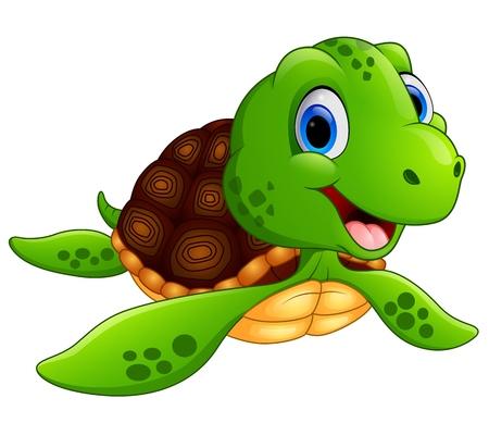 Glückliche Meeresschildkröte-Cartoon Standard-Bild - 49568970
