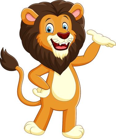 cheerful cartoon: Happy carton lion posing