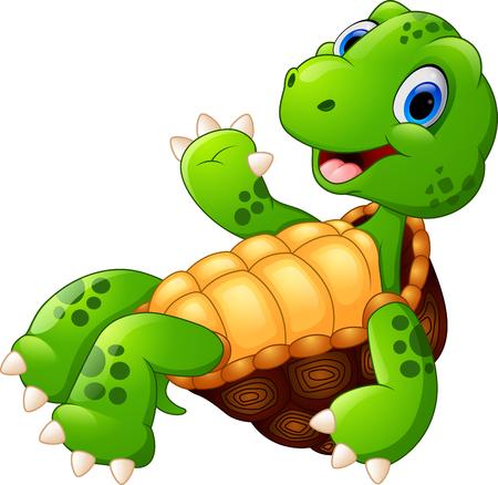 tortuga caricatura: Tortuga linda posando de dibujos animados Vectores