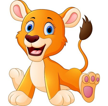 undomesticated cat: cute lion cartoon Stock Photo