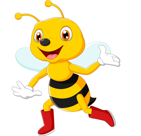 abeja reina: Historieta linda abeja agitando Foto de archivo
