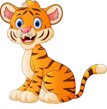 cute cartoon: Cute tiger cartoon sitting