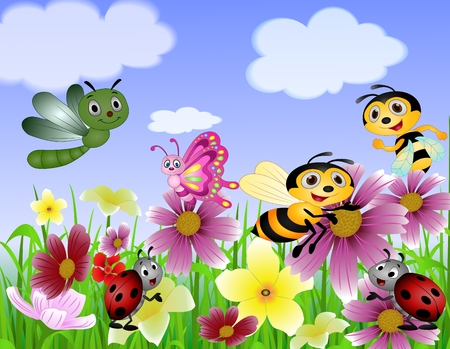 hormiga caricatura: con jardín de mariposas, abejas y los insectos