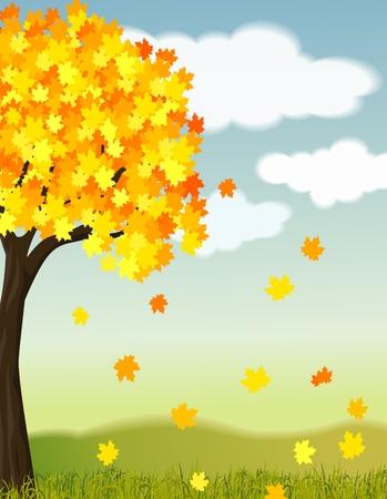 garden path: illustration of a beautiful autumn Stock Photo
