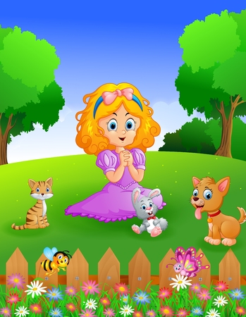 garden path: princess and her pets in the garden