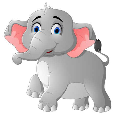 cute cartoon: Cute cartoon elephant posing