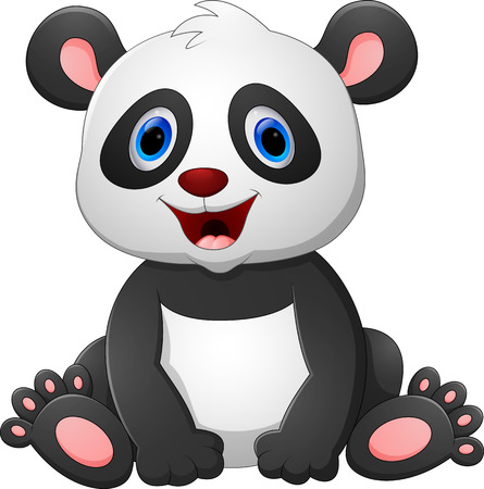 Cute baby panda cartoon Banque d'images