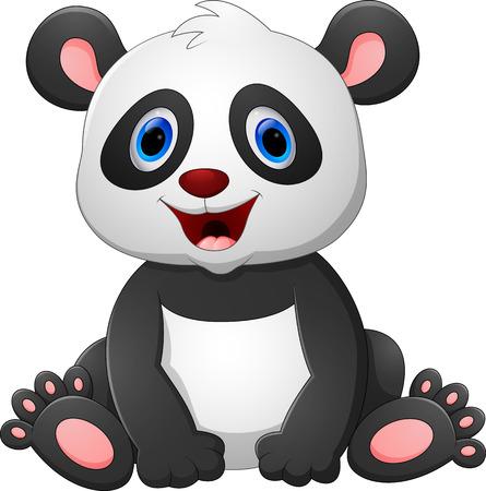 asian art: Cute baby panda cartoon Stock Photo