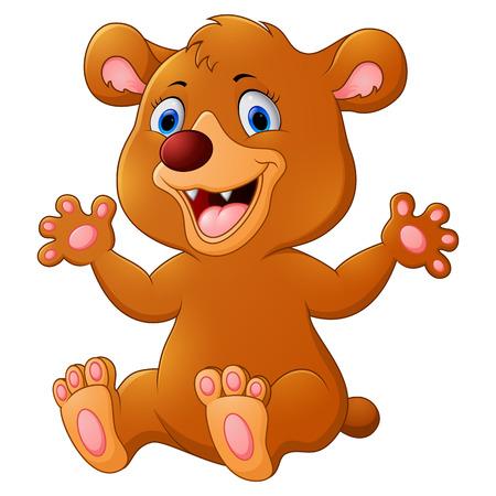 brown haired: Funny Bear cartoon Stock Photo
