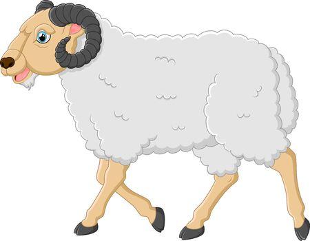 year of the sheep: Cute cartoon sheep character