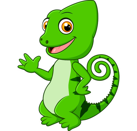 posing: Cartoon funny green lizard posing Stock Photo