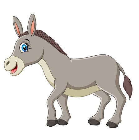 Cartoon glücklich Esel auf weißem Hintergrund
