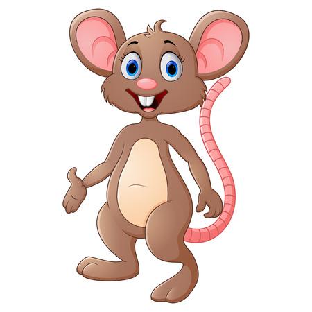 Cute mouse cartoon presenting Stock Illustratie