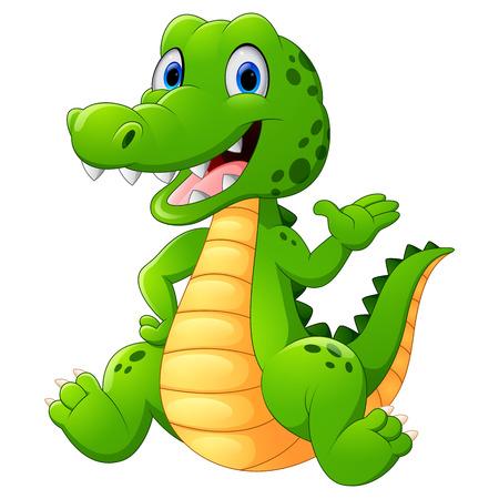 Śliczne krokodyla machając ręką