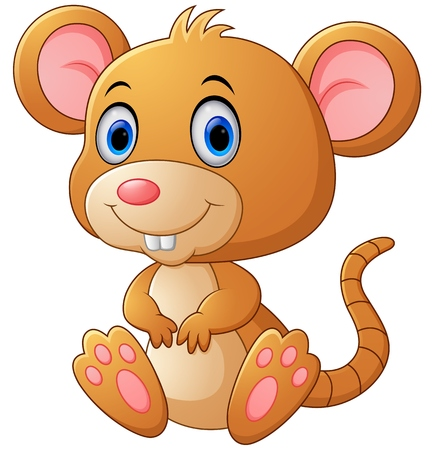 baby animals: Cute mouse cartoon Illustration