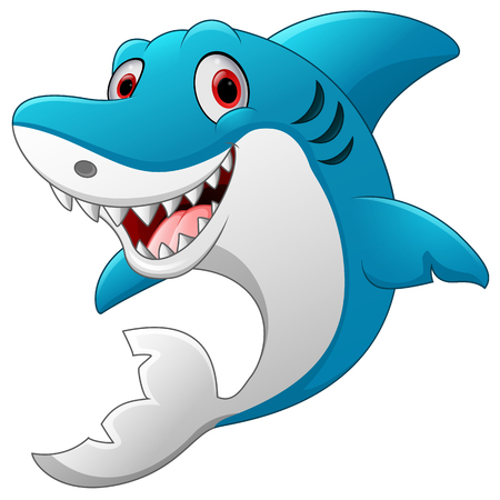 fish animal: Cute shark cartoon Illustration