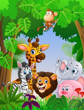 Cartoon safari animal in the jungle