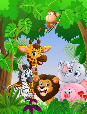 Cartoon Safari Tier im Dschungel Standard-Bild - 51576784