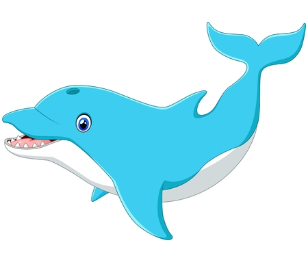 blue fish: Cute cartoon dolphin