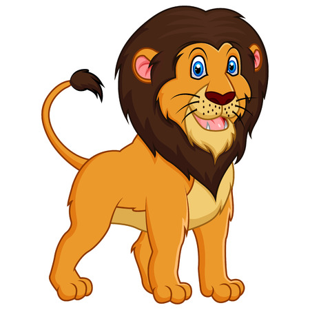 lion tail: Adorable lion cartoon on white background