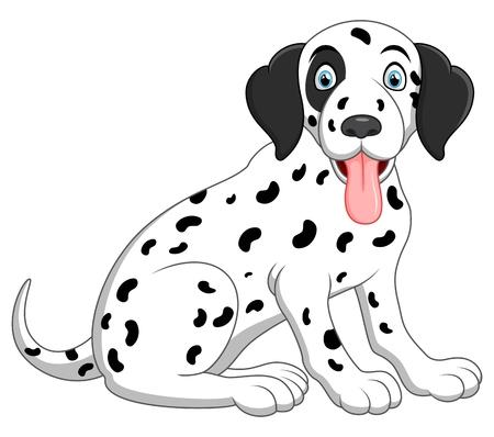 mignon et adorable dalmatien chien assis sur le plancher