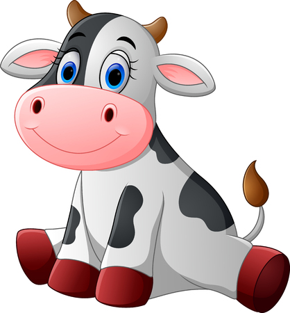 Cute baby cow cartoon sitting