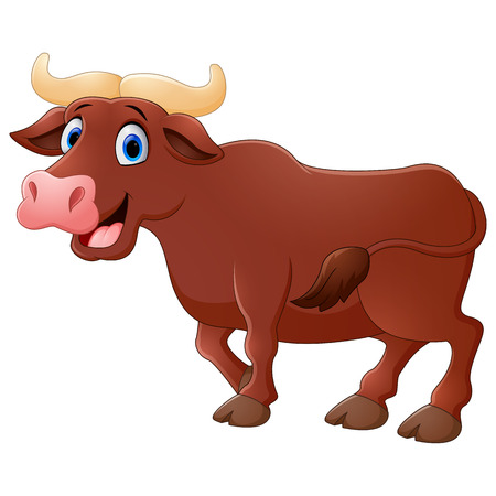 brawn: Vector illustration of Smiling bull mascot