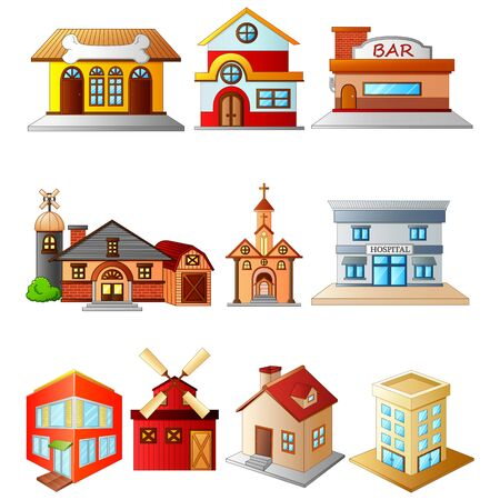 illustration of set several buildings Vectores