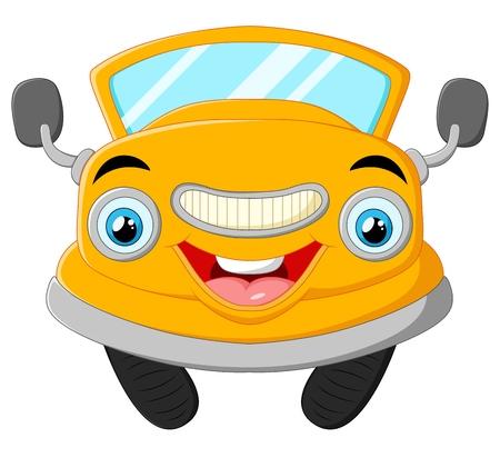 alluring: Yellow funny cartoon car