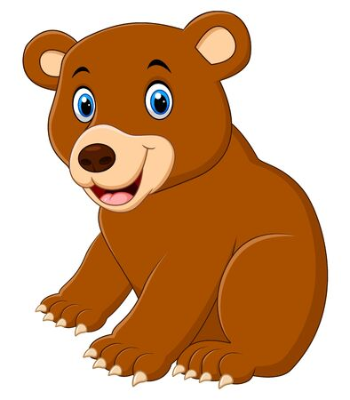 Cute brown bear cartoon Çizim