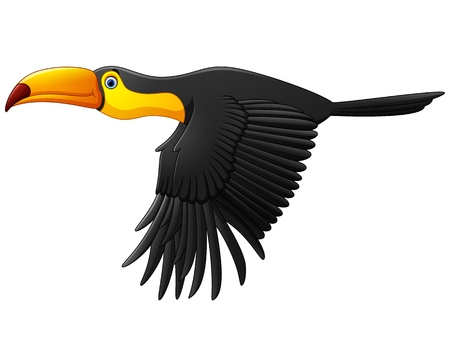 the animated cartoon: Cute toucan bird cartoon flying Illustration