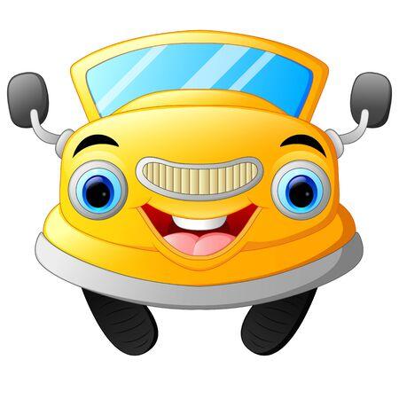 car speed: Yellow funny cartoon car
