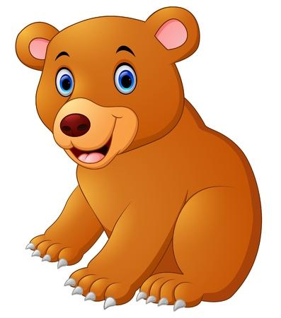 cute bear: Cute brown bear cartoon Stock Photo
