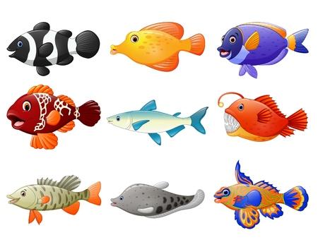 peces caricatura: conjunto de dibujos animados de pescado