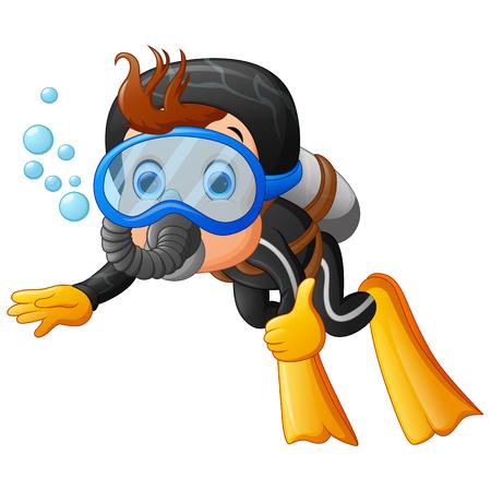 mignon garçon snorkeling Vecteurs