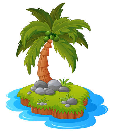 grass plot: Illustration of a tropical island Stock Photo