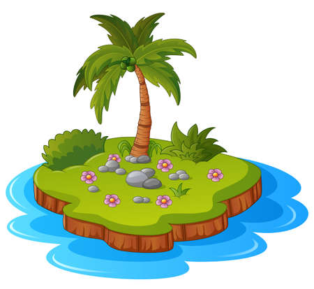 desolate: Illustration of a tropical island Stock Photo