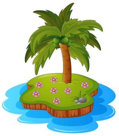 grass plot: Illustration of a tropical island Illustration