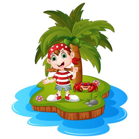 pirate crew: Pirate in the island Illustration