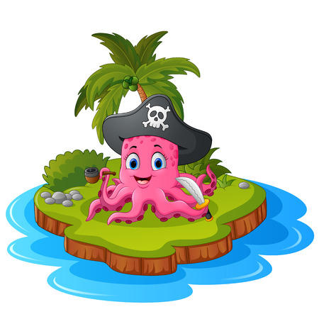 island clipart: octopus pirate in island Illustration