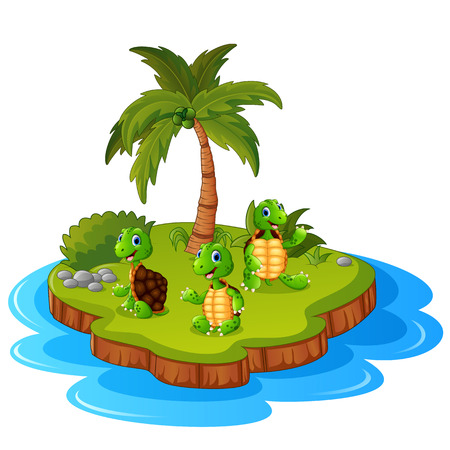Tropical island with turtle Illustration