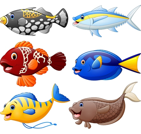 salt water fish: fish cartoon set Illustration