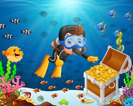 illustratie van de duiker onder de zee Stock Illustratie