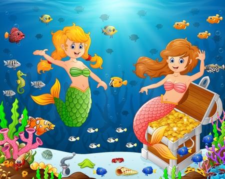 seaweeds: Illustration of a mermaid under sea