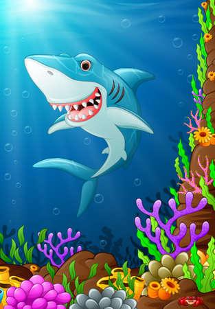 tiburon caricatura: ilustraci�n de debajo del mar