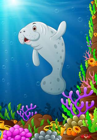 manatee: illustration of under the sea